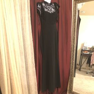 Black evening / formal gown with lace trimming